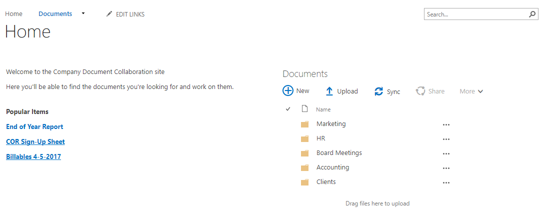 SharePoint Homepage Example