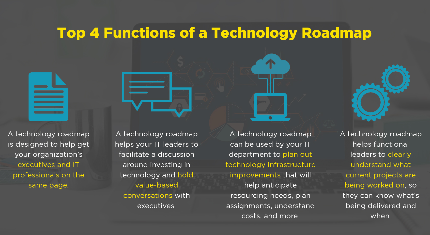 There are four primary functions of a technology roadmap