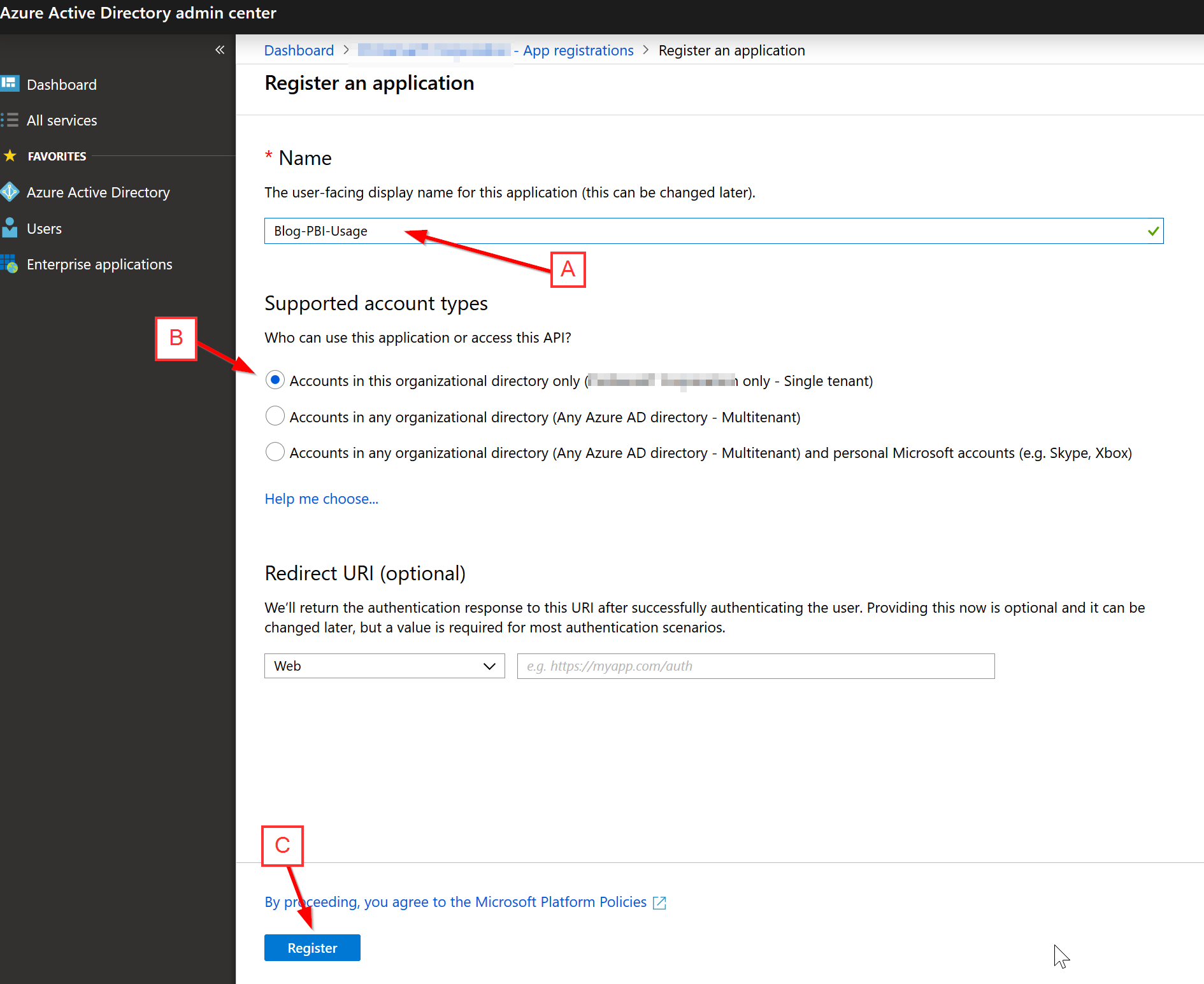 Register Azure AD Application