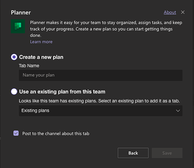 how to create planner in MS teams